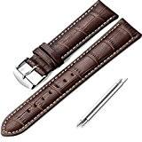 iStrap 19mm Cuir Vachette Chaîne Bracelets de Montre Watch band Strap pour Homme/Femme Brun