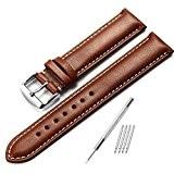 istrap 20mm Montre en cuir de veau véritable sangle rembourrée de montre argent boucle Super Doux Marron foncé