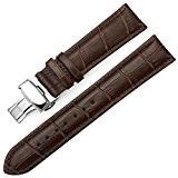 IStrap 20mm Bracelet en cuir véritable Boucle de déploiement Crocodile Pattern Remplacement Bracelet de montre - Marron