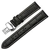 IStrap 20mm Bracelet en cuir véritable Boucle de déploiement Crocodile Pattern Remplacement Bracelet de montre - Bracelet noir avec point ...