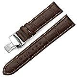 IStrap 21mm Bracelet en cuir véritable Boucle de déploiement Crocodile Pattern Remplacement Bracelet de montre - Bracelet marron avec point ...