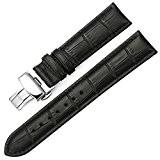 IStrap 22mm bracelet en cuir véritable bande de déploiement Buckle Crocodile Pattern Remplacement Bracelet de montre - noir