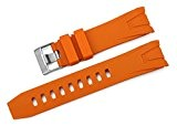 iStrap 22mm Caoutchouc Fin Curved Bracelet de Montre Watch Band pour Omega Seamaster Planet Ocean Orange