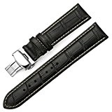 iStrap 22mm Cuir veritable Motif Crocodile Chaîne Bracelet de Montre sangle Watch band pour Homme Noir
