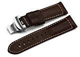 istrap 24mm Asso Sangle en cuir munition militaire Bracelet avec fermoir en acier inoxydable–marron