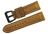 istrap 24mm assolutamente Mollet bande de montre en cuir noir PVD Boucle pour Panerai (marque)–Marron