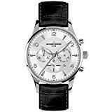 Jacques Lemans - 1-1654B - London - Montre Homme - Quartz Chronographe - Cadran Argent - Bracelet Cuir Noir