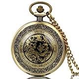 JewelryWe Montre à Gousset poche Homme-Rétro Dragon Phénix Cadran-Quartz Analogique-Alliage-Chaîne-Bronze