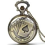 JewelryWe Pendentif Collier Montre de Poche Ronde Quartz Fantaisie Poker et Chiffres Alliage Couleur Cuivre Montre à Gousset pour Homme ...