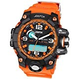 Joefox - NO1523 - Sport - Montre Homme - Quartz LED Digital et Analog - Bracelet Orange - Multi fonctionner ...