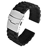 JSDDE Bande / Bracelet / Chaîne de Montre de Silicone Etanche à Boucle Déployante 20mm - Noir