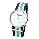 JSDDE - Casual Montre Bracelet Nylon Rayé Quartz Analogique Cadran Blanc - Rayure Bleu blanc vert