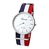 JSDDE - Casual Montre Bracelet Nylon Rayé Quartz Analogique Cadran Blanc - Rayure bleu blanc rouge