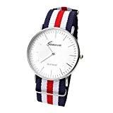 JSDDE - Casual Montre Bracelet Nylon Rayé Quartz Analogique Cadran Blanc - Rayure Fine