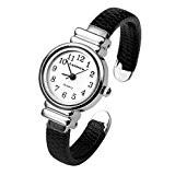 JSDDE Chic Petite Taille Montre-bracelet Manchette Mince Ouverte Cuir 12mm Noir pr Femme Fille Enfant