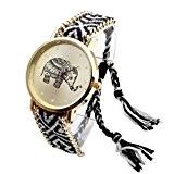 JSDDE Doux Femmes éléphant Motif Bande de Corde Tissé Bracelet Montres à Quartz Cadeau Noir + blanc