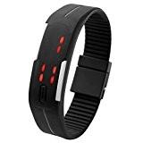 JSDDE Écran tactile LED Binary numérique Montre de sport silicone bracelet Hommes Femmes Montre(Noir)