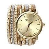 JSDDE Femmes Rivet Cristal Bracelet Quartz Montre-bracelet Tressé Enroulement Pellicule kaki