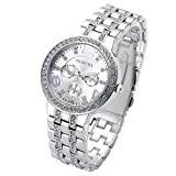 JSDDE Luxus Strass Femes montre-bracelet Acier Inoxydable Bracelet Ajustable faux Chronographe Quartz Analog Montre(Argent)