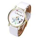 """JSDDE Nouveau Montre-bracelet analogique pour femmes hommes avec des écrits drôles coloré """"Whatever, I'm late anyway"""" (Blanc)"""