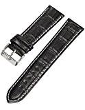 KS Bracelet de Montre Officiel 22mm Bracelet Cuir Noir Watchbands WTL023