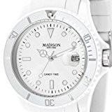 Madison New York - SU4167B - Montre Mixte - Quartz Analogique - Cadran Blanc - Bracelet Silicone Blanc