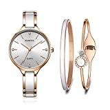MAMONA Ensemble cadeau montre pour femme et bracelets OR ROSE assortis de cristaux en céramique et acier inoxydable L3877RGGT