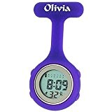 Montre à Gousset Digitale Multifonction Silicone Violet par La Olivia Collection