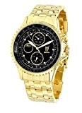 Montre Bracelet en Or pour Hommes Cadran noir Accentuée de Diamant Multi-fonctions Jour Date Solaire Lunaire Konigswerk SQ201477G