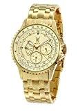Montre Bracelet Or pour Hommes Large Cadran Accentuée de Diamant Multi-fonctions Jour Date Konigswerk SQ201466G