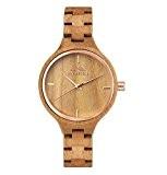 Montre charmante en bois de cerisier pour femme Couleur naturelle Montre-bracelet à quartz en marron pour femmes
