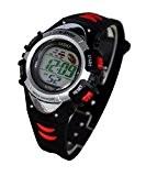 Montre Enfant quartz digitale noir rouge sport chrono alarme etanche