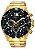 Montre Hommes Pulsar Quartz - Affichage Analogique bracelet Acier inoxydable plaqué Or et Cadran Noir PT3720X1