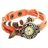 Montre quartz bracelet pendentifs feuille et perles en cuir de daim orange