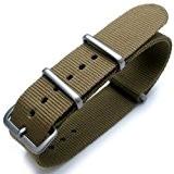 Nato Bracelet de montre en nylon G10 thermoscellé avec boucle brossée Vert kaki 20mm