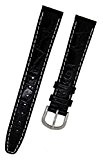 Orig. Fortis Bracelet de Montre en Cuir Croco Noir avec coutures blanc 16mm 8819