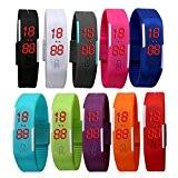Padgene Lot de 10 pièces Montre-Bracelet Plusieurs Couleurs LED Numérique Silicone Sport Montre Rubber Date Femmes Hommes Unisexe