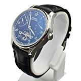 80fc7ba9005bb Parnis Cadran noir Power Reserve Seagull Mouvement automatique montre  bracelet