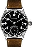 PARNIS mécanique Montre aufzugs à main modèle 2093Montre pour homme en acier inoxydable Verre Minéral de cuir bracelet Seagull calibre ...