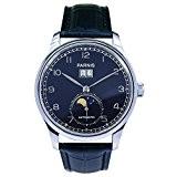 PARNIS Montre Homme Automatique modèle 2061Montre bracelet en acier inoxydable Bracelet en cuir seaGull Grand Affichage de la date Lune ...