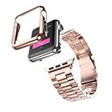 Pour Apple Watch Band 38mm Fulltime®Montre bracelet en acier inoxydable bande + adaptateur + housse pour Apple montre iWatch 38mm