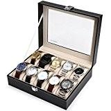 Readaeer Boîte à Montres pour 10 montres Présentoir/Coffret/Boîte de stockage, noir