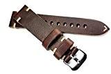 RIOS Bracelet en cuir couture blanche 20mm Ruban Look rétro Quality Strap marron foncé marine militaire aviateur Top Qualité Cognac