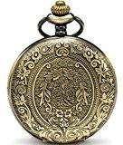Sewor classique Fleur montre de poche à quartz Shell Cadran Bronze Coque avec deux type de chaîne (cuir + Métal)