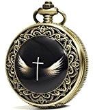 Sewor Mode Bronze en émail à quartz Croix Ailes montre de poche Cadran noir cuir + Boîte Cadeau