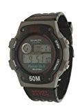 shaon affichage numérique Montre sport bracelet en caoutchouc noir avec cadran gris double temps et alarme Melody