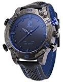 Shark - SH265 - Montre Homme - Quartz - LED/Date/Jour/Alarm - Digital Analogique - Bracelet Cuir Noir Bleu