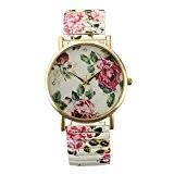 SODIAL(R) Montre Fleur Floral Peinture Bracelet elastique Femme Alliage Quartz Cadeau Mode