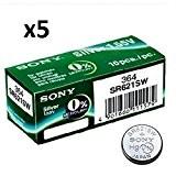Sony SR621SW SR-621SW 364 Lot de 5 piles rondes pour montre