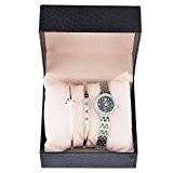 Souarts Ensemble Coffret Cadeau 1 Montre 2 Bracelets Bangle pour Femme